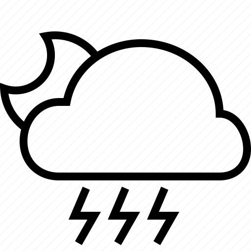 cloud, halfmoon, rain, storm, weather icon