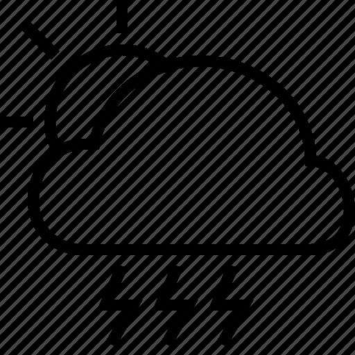 cloud, rain, storm, sun, weather icon
