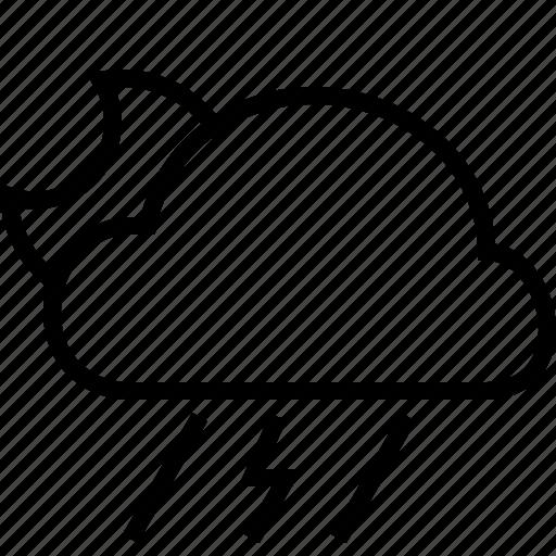 halfmoon, rain, tempest, weather icon