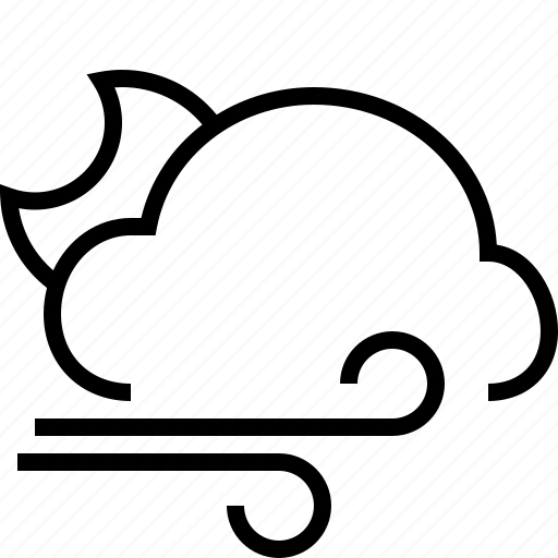 cloud, halfmoon, weather, wind icon
