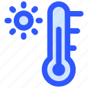 sun, temperature, thermometer, weather icon