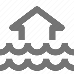 arrow, flood, home, house, up, waves icon