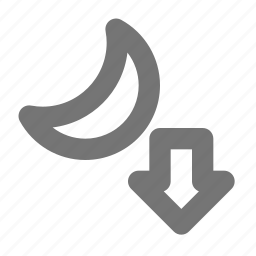 arrow, down, moon, moonset icon