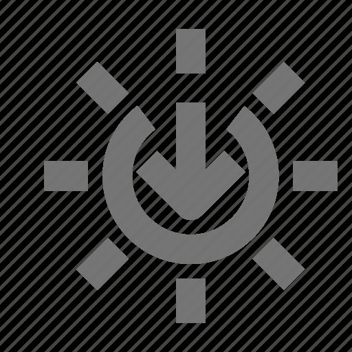 arrow, down, forecast, outdoors, sun, sundown, sunset, weather icon