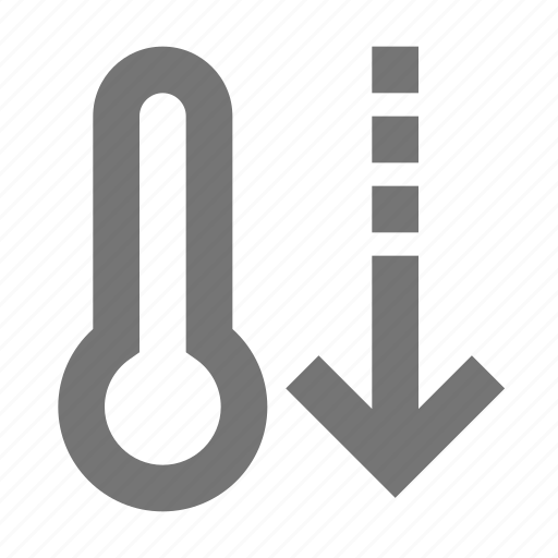 arrow, decrease, down, forecast, outdoors, temperature, thermometer, weather icon