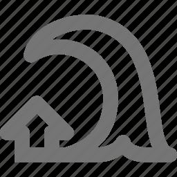 arrow, tsunami, up, wave icon