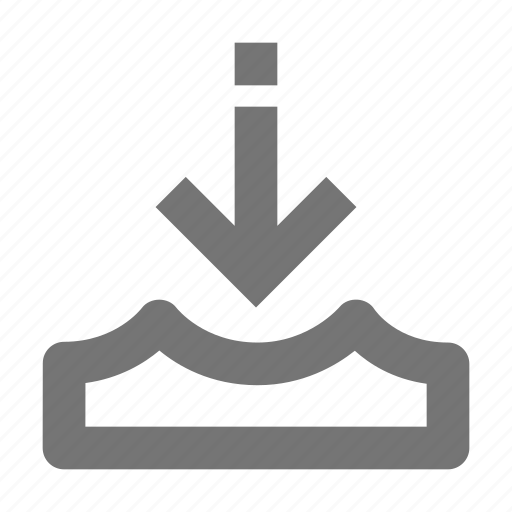 arrow, down, water icon