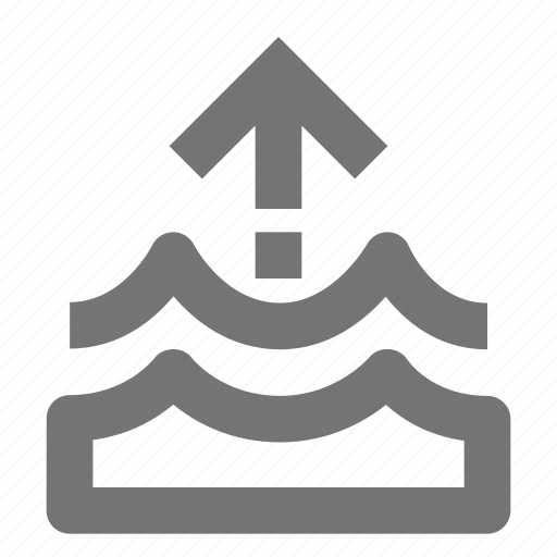 arrow, level, nature, rise, up, water, waves icon