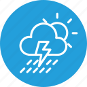 cloud, cloudy, forecast, rain, sun, thunder, weather icon