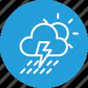 cloud, cloudy, forecast, rain, sun, thunder, weather