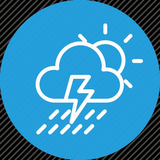 cloud, cloudy, forecast, rain, sun, thunder, weather icon