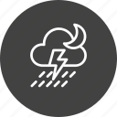 cloud, cloudy, forecast, moon, rain, thunder, weather icon