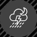 cloud, cloudy, forecast, moon, rain, thunder, weather