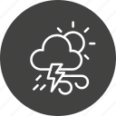 cloudy, forecast, lightning, sun, thunder, weather, wind icon