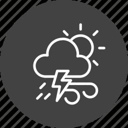 cloudy, forecast, lightning, sun, thunder, weather, wind icon