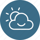 cloud, cloudy, morning, smiley, sun, sunrise, weather icon