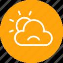 cloud, cloudy, partlysun, sad, sun, sunny, weather icon