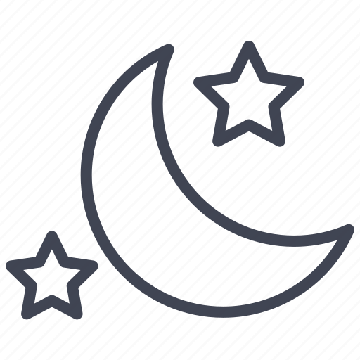 forecast, moon, night, stars, temperature, weather icon