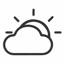 cloud, cloudly, sun, weather icon