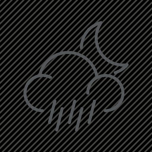forecast, night, rain, weather icon