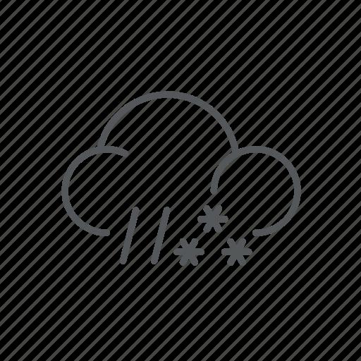 forecast, rain, snow, weather icon