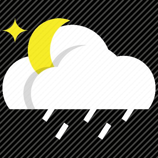 cloud, night, rainy, weather icon