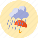 clouds, downpour, forecast, rain, storm, umbrella, weather icon