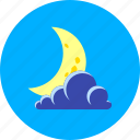 cloudy, crescent, forecast, half-moon, moon and cloud, night, weather
