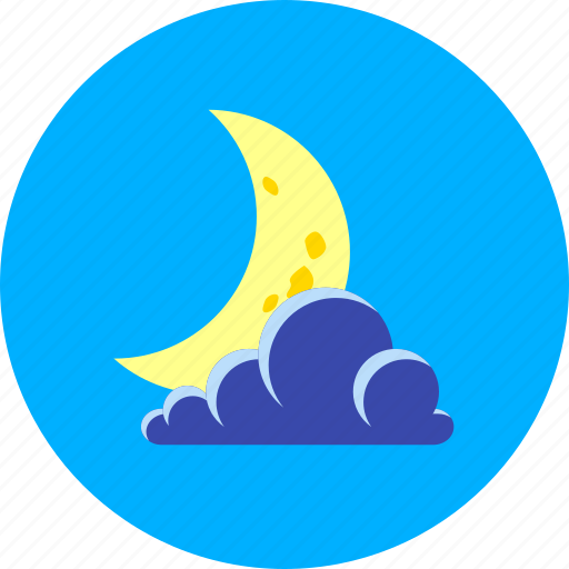 cloudy, crescent, forecast, half-moon, moon and cloud, night, weather icon