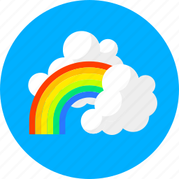 clouds, cloudy, forecast, rain, rainbow, summer, weather icon