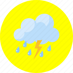 cloudy, forecast, lightning, rain, storm, tempest, weather icon