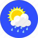 cloudy, forecast, rain, summer, sun and rain, sunny, weather icon