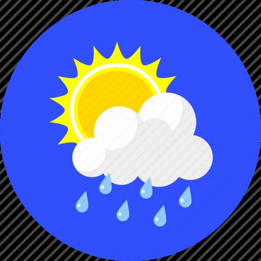 cloudy, forecast, rain, summer, sun and rain, sunny, weather icon