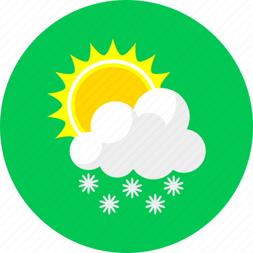 cloudy, cold, forecast, snowing, sun and snow, weather, winter icon
