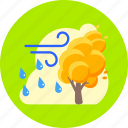 autumn, forecast, rain, rain and wind, storm, tree, weather icon