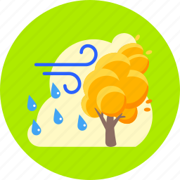 autumn, forecast, rain, rain and wind, storm, tree, weather icon
