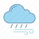 cloudburst, downpour, drizzle, rain, weather, wind, windy icon