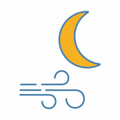 crescent, moon, night, nighttime, weather, wind blow, windy icon