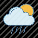 cloudburst, downpour, drizzle, rain, rainy, sunny, weather icon