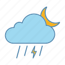 lightning, moon, rain, storm, thunder, thunderstorm, weather icon