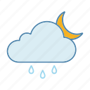 cloud, moon, night, rain, raindrop, rainy, weather icon