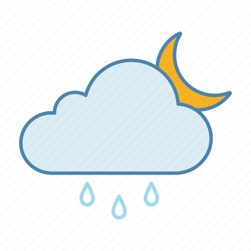 cloud, moon, night, rain, raindrop, rainy, weather icon