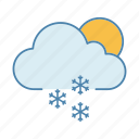 moon, snow, snowfall, snowflake, snowy, sun, winter