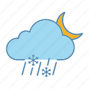 cloud, moon, night, rain, sleet, snow, snowfall icon