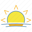 summer, sun, sunlight, sunny, sunrise, sunset, sunshine icon
