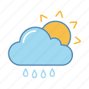 cloud, drizzle, rain, raindrop, sun, sunny, weather icon