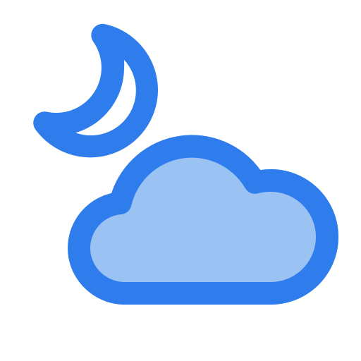 cloud, crescent, half, moon, night, sleep, weather icon