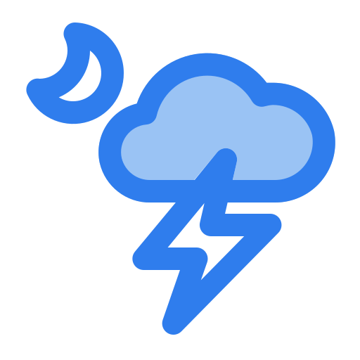 Cloud, lightning, moon, night, storm, thunder, weather icon - Free download