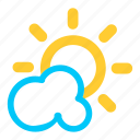 cloud, cloudy, forecast, partly, sunny, weather icon