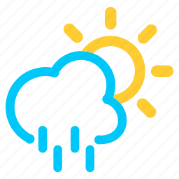 forecast, rain, runny, shower, sun, sunny, weather icon